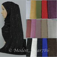 Premium Cotton Jersey Hijab Scarf Muslim Headcover Silver Rhinestones 170X70  cm