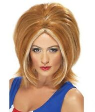 Womens Ginger Spice Wig w. Blonde Streaks Music Icon 90s Fancy Dress Girl Power
