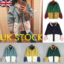 UK Womens Lady Colour Block Windbreaker Corduroy Contrast Hooded Jacket Coat Top