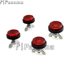 Motorcycle 4 Pcs Tag Bolts Mini License Plate Red Reflectors For Harley Chopper