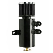 Black Aluminum 10AN Oil Catch Can Reservoir Tank +Breather Filter Baffled Kit