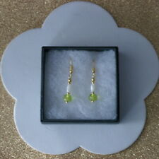 BEAUTIFUL EARRINGS WITH PERIDOT & MOTHER OF PEARL 2.2 GR. 2.6 CM. LONG + HOOKS I