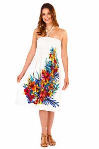 Ladies 100% Cotton Summer/Beach 3 in 1 Strapless  Floral Spray Sun Dress Skirt