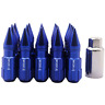 20PCS M14X1.5 60MM Spiked Extended Aluminum Tuner Lugs Nuts Wheels/Rims  Blue