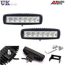 2 x 18W 6 LED Offroad Slim Punktstrahl IP67 bar Traktor Jeep Truck Works Licht