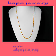 Gold Chain Men Womens 22 inch 18ct Gold Necklace 2mm thick Curb Chain  A9