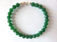 Grünachat facett. Armband 18 cm 925 Silber Green Onyx  Bracelet Nr. 5128