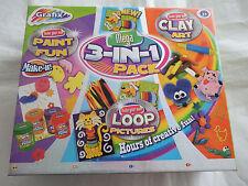 Grafix craft kit-mega 3 en 1 pack clay art, peinture fun, boucle photos craft