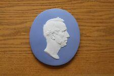 Rare Antique Wedgwood Light Blue Jasper Ware A.B. Wyon Portrait Oval Plaque