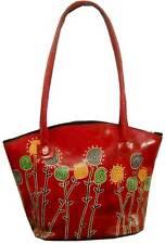 Red Floral Designer Ethnic LADIES Shantiniketan Leather Indian Shoulder Bag