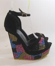 "Blacks colorful rhinestones 6""wedge heel 2""platform ankle strap shoes  SIZE  5.5"