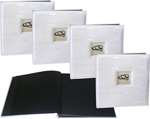 4x Wedding Silk white photo albums with windows, black pages * FOUR PACK