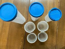 7 Tupperware Modular Mates Round containers with Blue Lids