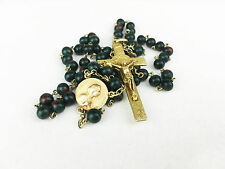 Antique Rosary Relic Luxury GOLD WASH BLOODSTONE HELIOTROPE rare French Original
