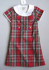 NWT Papo d'Anjo Girls 5 Yrs Red Plaid Wrap Dress Christmas (May Run Small)