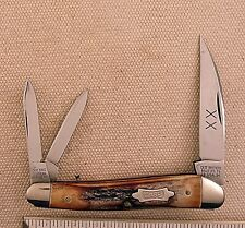 CASE BROS.Wharncliffe 3 BLADE KNIFE WITH BURNT STAG HANDLES