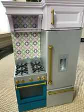 "American Girl Kitchen farmhouse stove refrigerator fridge ice cubes New 18"" doll"