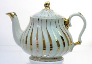 Vintage Sadler England Porcelain Teapot  Cream  with Gold Swirls