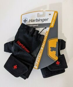 Harbinger Wristwrap Weightlifting Gloves Padded Cushioned Leather Medium M NEW