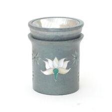 Räucherduftlampe aus Speckstein Motiv Lotus klein, 8cm hoch +Kegel +Teelicht