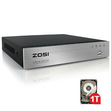 ZOSI 4CH 720P AHD DVR Network P2P Motion for Security Camera System Free APP 1TB