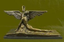 Deco NOUVEAU Bronze LEDA UND DER SCHWAN Sculpture Home Decor Figurine Large EG