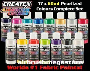 Createx Airbrush Colors 60ml Pearl 17 Colour Set + Free Insured Post