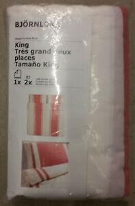 IKEA King Duvet Cover Pillowcases Set BJORNLOKA Red Stripe Yarn Dyed Schitts Cr