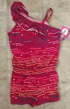 Circo Girls One-Piece Romper Jumper Shorts Size M 7/8 Pink Striped Hearts NWT