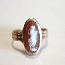 Antique Victorian Cameo Rose Gold Ring 14k Size 6