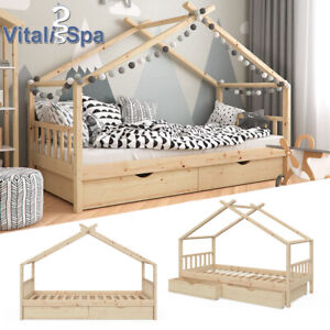 VITALISPA Kinderbett DESIGN Hausbett mit Schubladen Lattenrost Klarlack 90x200