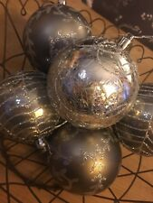 6 LUXURY SILVER CHRISTMAS TREE BAUBLES SPARKLE BALLS ORNAMENTS