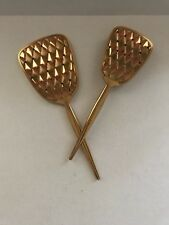 Vintage Golden Wheel Diamond Pattern Vanity Dresser Mirror and Brush Set