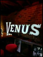 1930s iluminated 'VENUS' Bar/Brasserie vintage industrial advertising sign, DECO