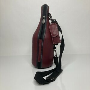 Caddy O Wine Bottle Carrier Leather Cooler Maroon Insulated Hand Strap w/tool