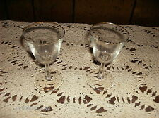 Set of Two Clear Drinking Glasses Wine Goblets Gold Rims