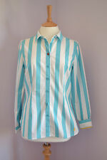 JOULES KINGSTON Aqua Stripe Classic Shirt UK 8