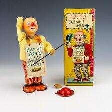 Vintage Nomura Toys Japanese Tin Plate Clockwork Ko-Ko Sandwich Man - Boxed!