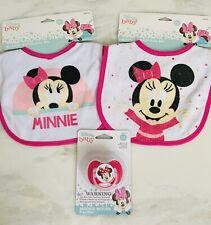💝NWT Disney Baby Minnie Mouse Bib & pacifier 3pc Set BPA Free 0+Months Girls