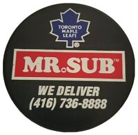 MR. SUB TORONTO MAPLE LEAFS NHL VINTAGE OFFICIAL HOCKEY PUCK VEGUM MFG. 🇸🇰