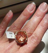 "NEW Gorgeous ""designer inspired"" Large Round Topaz CZ Ring Gold tone  - size 9"