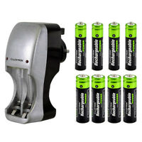 COMPACT PORTABLE PLUG-IN BATTERY CHARGER +8 AAA & AA NIMH RECHARGEABLE BATTERIES