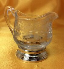 Vintage Cambridge Chantilly Creamer with Sterling Silver Base & Etched Glass