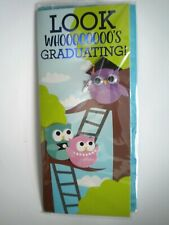 """LOOK WHOOOOOOOO'S GRADUATING!"" GRADUATION 3D GREETING CARD + TEAL ENVELOPE"
