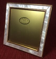 The Bucklers Vintage Hand Crafted Mother Of Pear 5x5 Photo Frame Gold Tone Metal