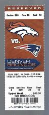 2011 NFL NEW ENGLAND PATRIOTS @ DENVER BRONCOS FULL UNUSED FOOTBALL TICKET