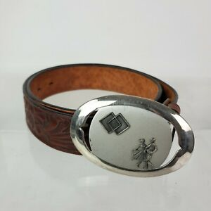 VTG Justin Brown Tooled Leather Belt with Silver Rockabilly Swing Dance Buckle