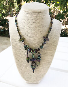 New Pearl, Abalone & Glass Bead Necklace Bronze Purple