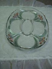 """Vintage Mikasa French Bouquet 15"""" Oval Clear Glass Floral Accent Hostess Tray"""