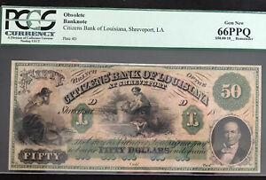 1800's $50 Shreveport, Louisiana Remainder PCGS 66 GEM NEW